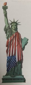 Statue of Liberty draped in flag