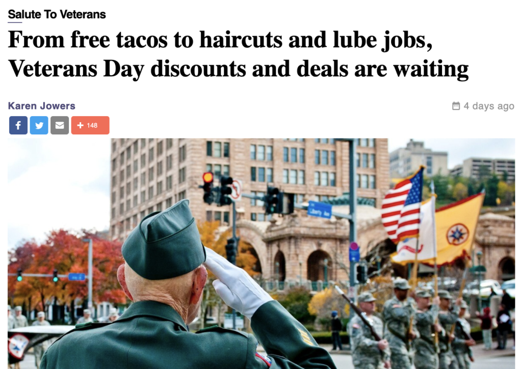 """Headline on Military Times website touts """"From free tacos to haircuts and lube jobs"""