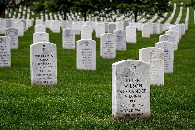 Headstones at cemetery
