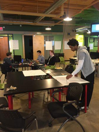 MSU students Phillip Prescher, Josh Curl, Ryan Casler and Kaelin Herron working on their startups