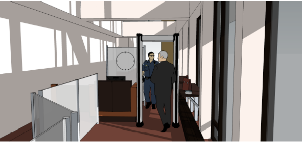 Entry view of the proposed security changes for City Hall, includingmetal detector, security guard and 4-foot partition.