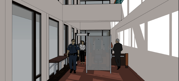 Proposed security changes from the perspective of an individual exiting the building.