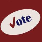 Vote sticker on red background
