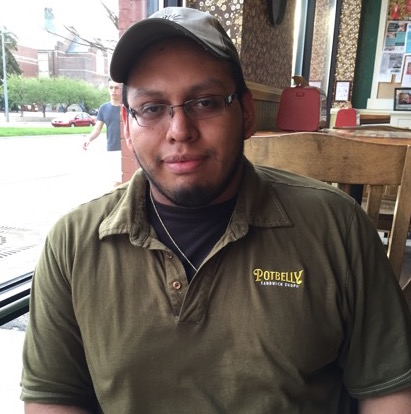 Jose Bilar, 24 years old, works in the Potbelly sandwich shop
