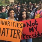 MSU students protest the results of the 2016 presidential election on campus.