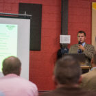 Transportation engineer of AECOM Sean Kelsch addresses the crowd during the CATA Bus Rapid Transit presentation on Oct. 4, 2016 at Allen Neighborhood Center at 1611 E. Kalamazoo St. in Lansing, Mich.