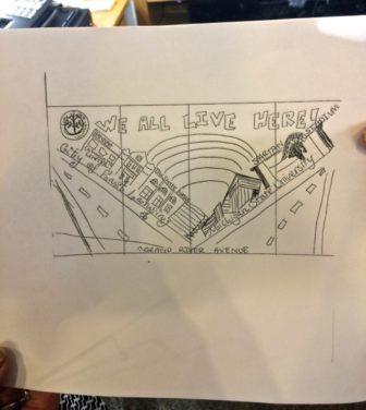 The original drawing plan for Baladi's storefront window.