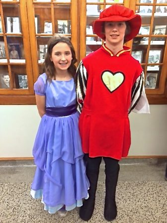 Jessica Surline on left playing Alice and on right Josh Surline playing Guard.