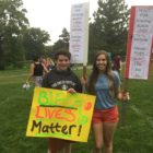 Two East Lansing High School seniors, Nicky (left) and Hannah (right) attend Sen. Sanders rally in support of the Black Lives Matter movement. The two seniors put together a peace vigil to honor black lives at the median between Grand River Ave. and Abbott Rd. in East Lansing on Oct. 6th