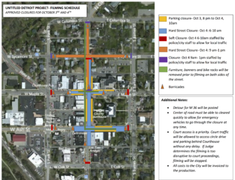 Map of road closures in downtown Mason. Courtesy of Mason City Hall