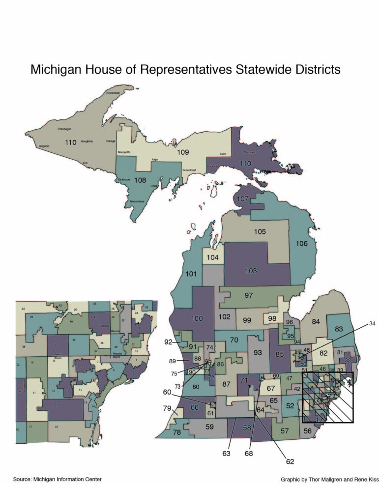Map of Michigan House districts
