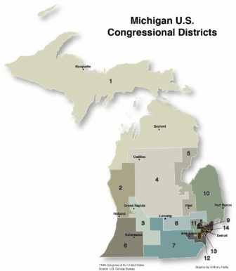 Map Michigan congressional districts