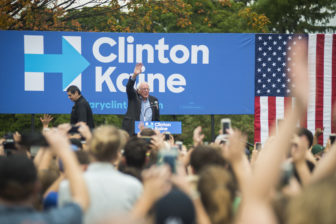 Sen. Bernie Sanders (I-Vt.) greets the crowd of people on Oct. 6, 2016 at Adams Field. East Lansing is one of four locations that Sanders campaigned at on Thursday. Sanders traveled across Michigan in a campaign for Democratic presidential nominee Hillary Clinton.