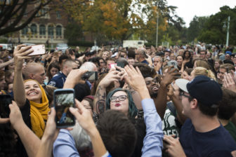 Students hold their phones and pose for selfies with Sen. Bernie Sanders (I-Vt.) on Oct. 6, 2016 at Adams Field. East Lansing is one of four locations that Sanders campaigned at on Thursday.  Sanders traveled across Michigan in a campaign for Democratic presidential nominee Hillary Clinton.