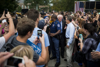 Sen. Bernie Sanders (I-Vt.) makes his way through the crowd of people on Oct. 6, 2016 at Adams Field. East Lansing is one of four locations that Sanders campaigned at on Thursday.  Sanders traveled across Michigan in a campaign for Democratic presidential nominee Hillary Clinton.
