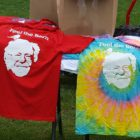 A vendor sells T-shrits outside a rally by former Democratic presidential candidate Bernie Sanders. Sanders visited Michigan State University on Oct. 6 to campaign for Hillary Clinton.