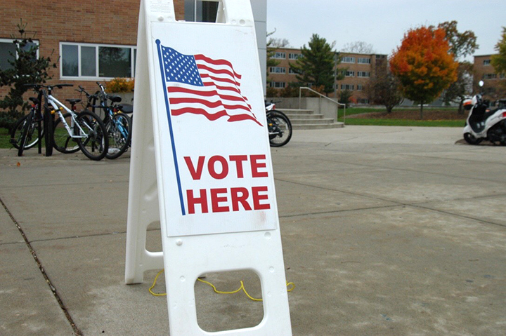 A sign marks a voting precinct at Michigan State University's Brody Complex on Election Day, Nov. 8, 2016.