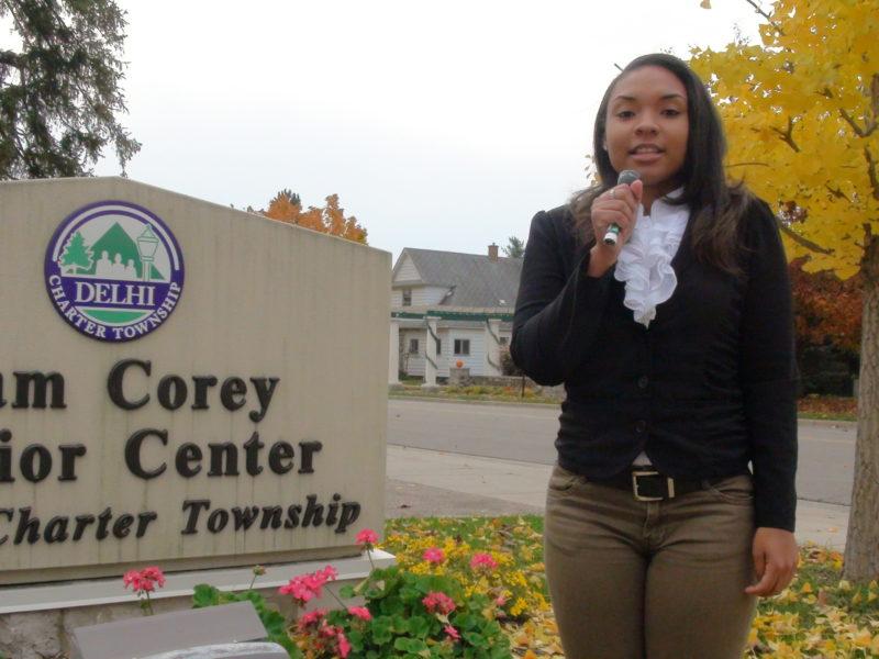 Amari Nichols outside of Sam Corey Senior Center shortly after the polls opened up.