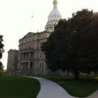The Michigan state capitol just east of Washington Square.