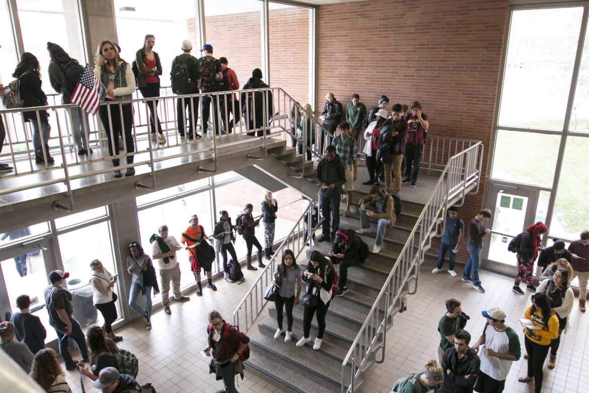 Lines fill the stairs as students wait anxiously to cast their vote Presidential Election on Nov. 8, 2016 at the IM West Building in East Lansing, Michigan.