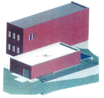 Site-plan for the new Ultraviolet Disinfection Building (right) that will be constructed next to the existing Tertiary Filter Building (left)