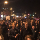 Students at Michigan State University protest Donald Trump's election.