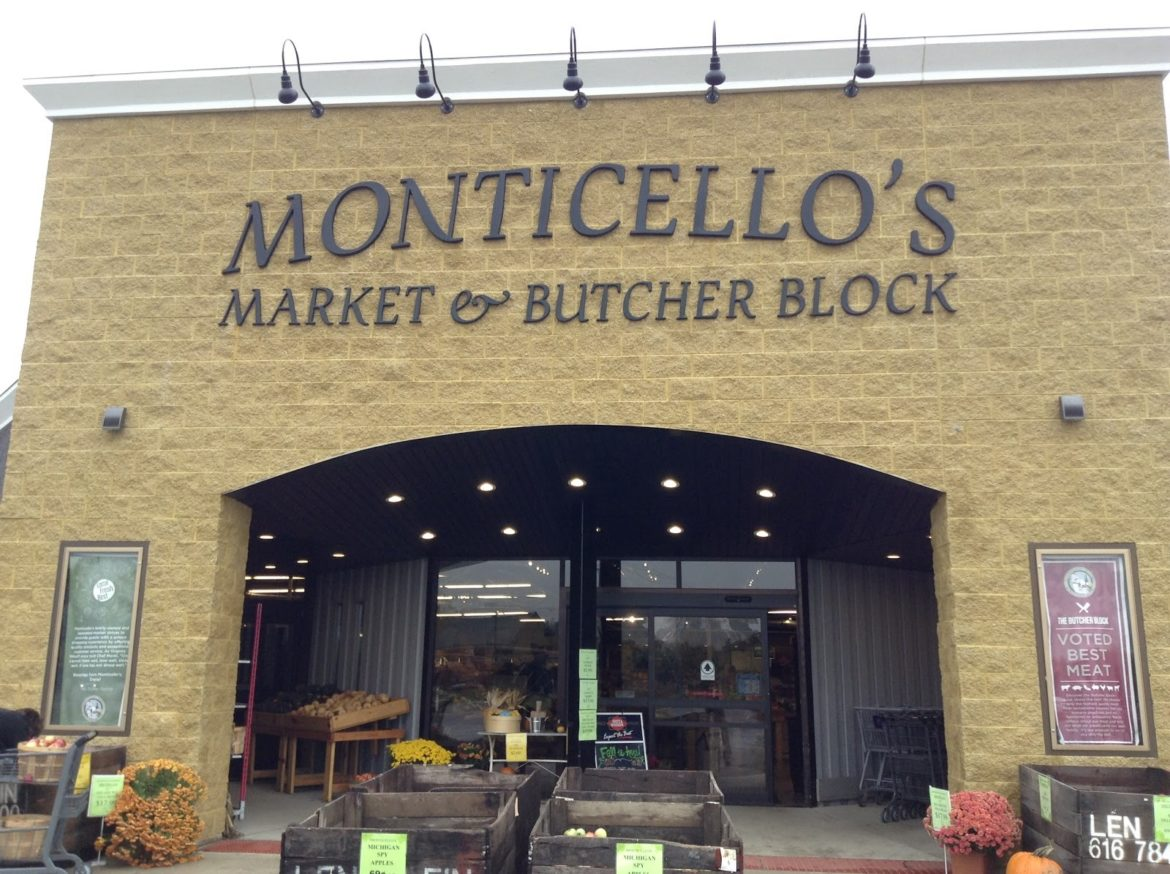 The store front of Monticello's market, a local market in Haslett just minutes away from the new Costco site. (Photo Credit: Michael Epps)