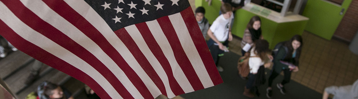 Students wait in line to vote at IM West at Michigan State University on Election Day 2016.
