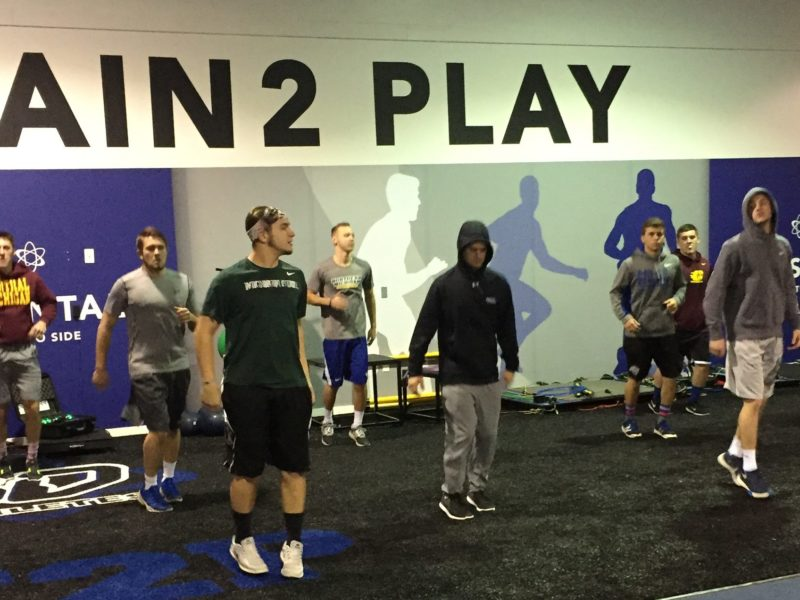High schools football players from all over Michigan training in the 3D Athletes workout facility in Lansing, MI