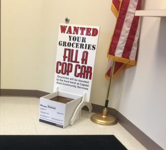 "Annual ""fill a cop car"" box at Bath Townships police department"