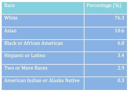East Lansing racial demographics, based off the U.S. Census Bureau's 2010 data. Image: Natasha Blakely