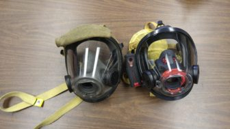 Left; current mask used by firefighters Right; new Scott thermal imaging mask