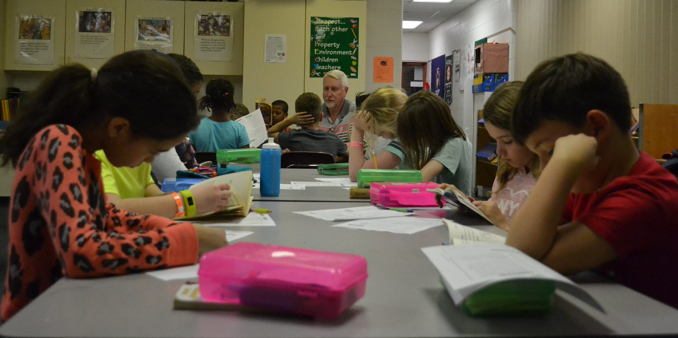Students at Marble Elementary School individually work on classwork