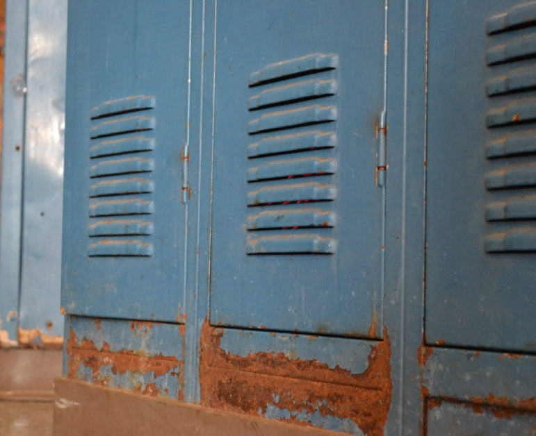 Lockers at Marble Elementary School that have rust