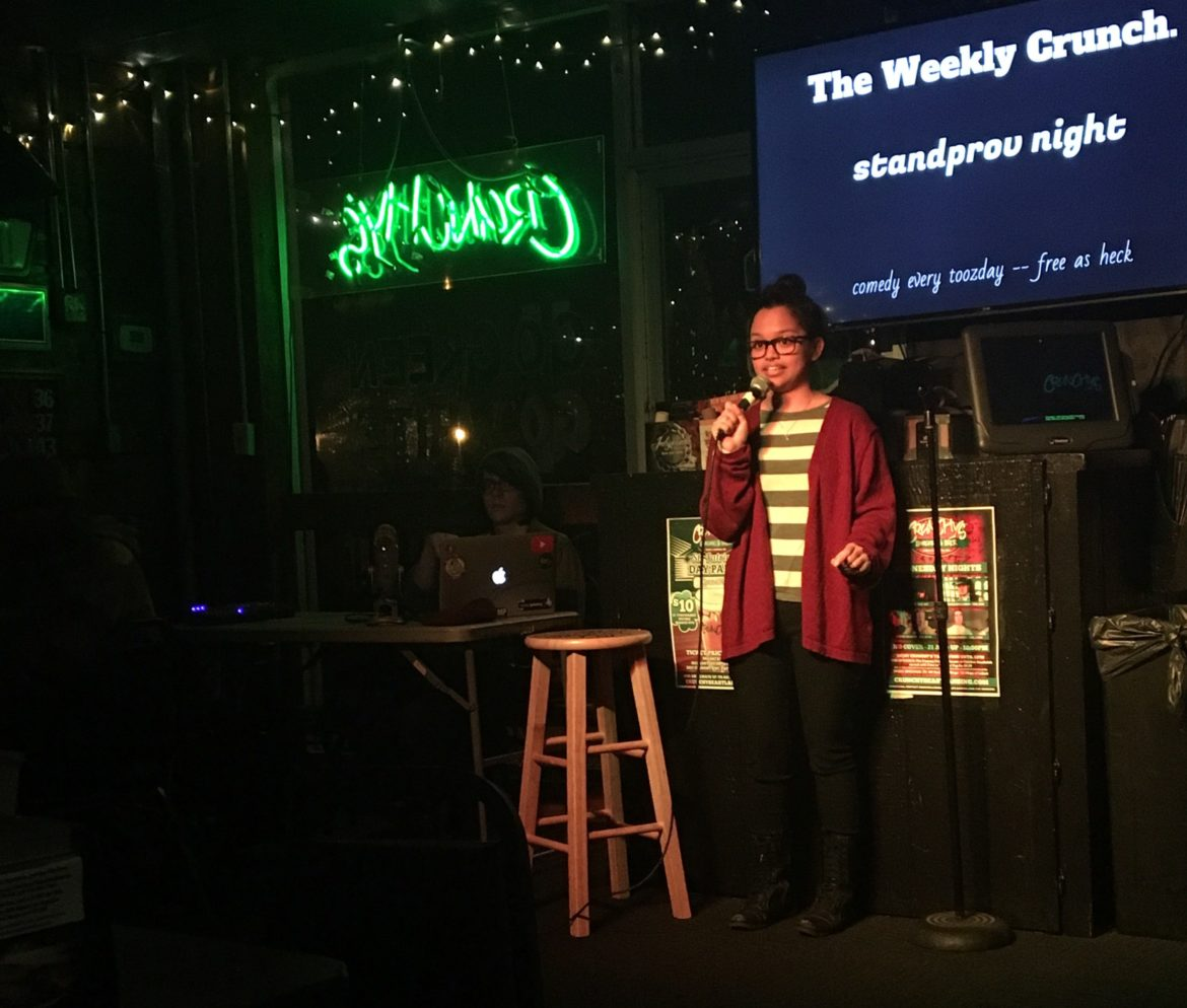 Comic and host Jacqui Marpa performs at Crunchy's on Feb. 21.