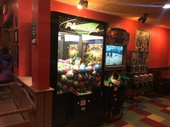 The restaurant also has a small arcade area for entertainment