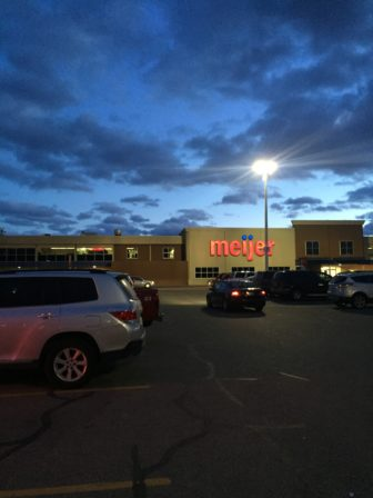 Feb. 14, Meijer's parking lot is flowing fluidly before the Chick-fil-A opens.