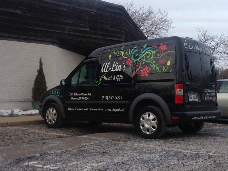 Al-Lin's Floral & Gifts truck, parked and ready to deliver flowers for the Holiday.