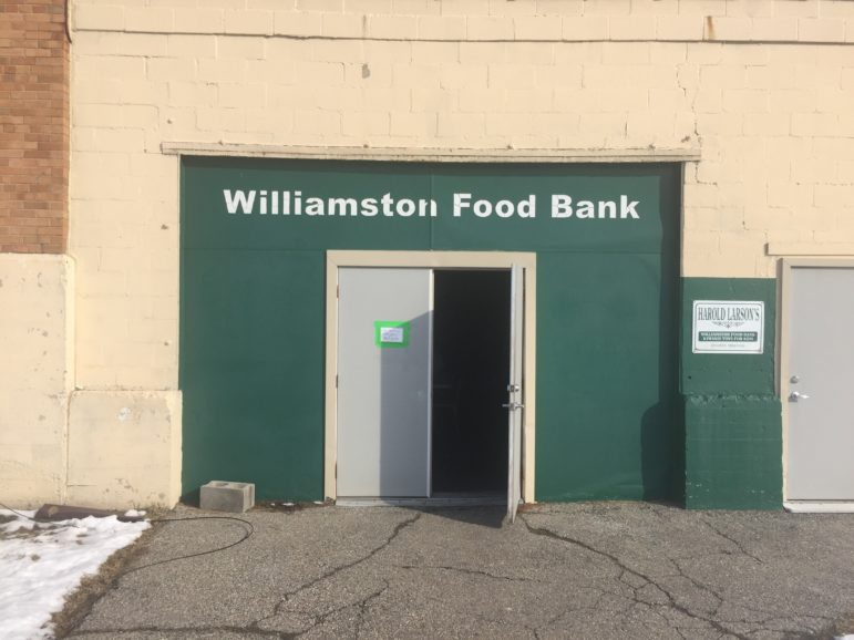 The storefront of the Harold Larson Williamston Food Bank, which is located in the back of the Williamston Community Center