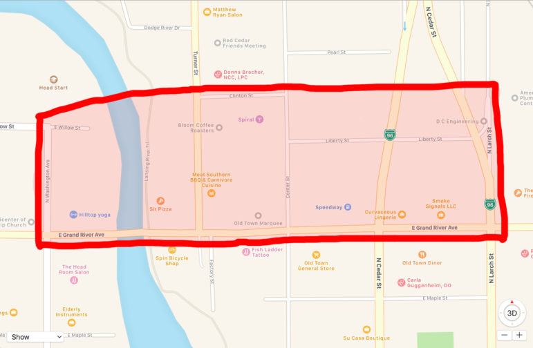This map roughly depicts the boundaries of Old Town that are recognized by Michigan Main Street. Map courtesy of Google Maps.