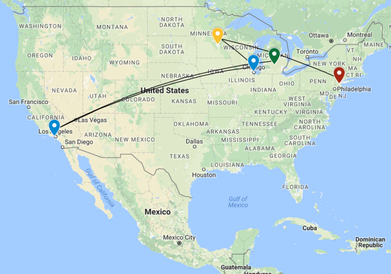 Map of the stops Yiannopoulos made along his Dangerous Faggot Tour.