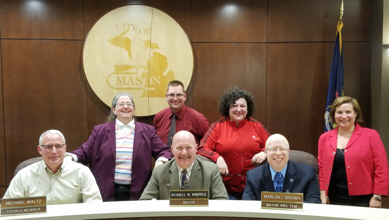 Mason's City Council, as elected in November,  left to right. Michael Waltz, Elaine Ferris, Jon Droscha (back), Russ Whipple, Rita Vogel, Marlon Brown and Angela Madden.