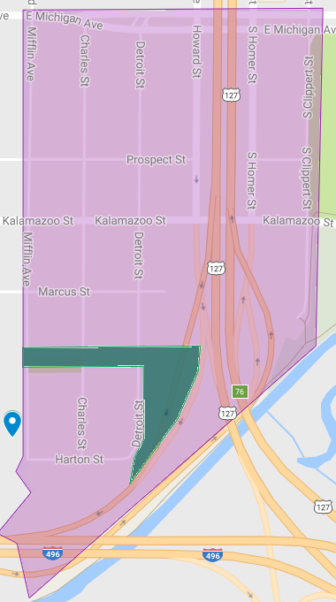 The southeast side of Lansing Township, known as district 7 in the 2015-2024 Comprehensive Sidewalk Plan. Plans for repairing district 7 aren't scheduled until 2024. Screenshot courtesy of Google Maps.