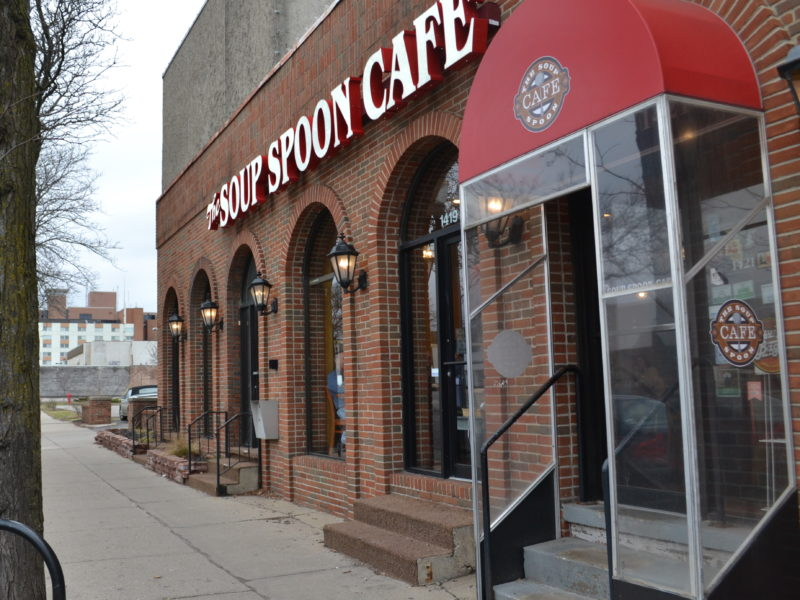 Entrance to Soup Spoon Café located on 1419 E Michigan Ave. on March 27, 2017.  Photo by Taylor Skelton