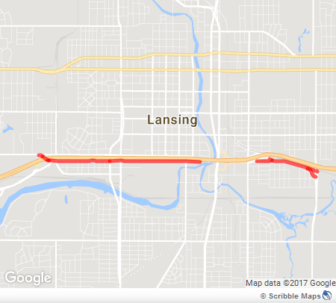 Malcolm X Street in Lansing is outlined in red. Map by scribblemaps.com and Maxwell Evans