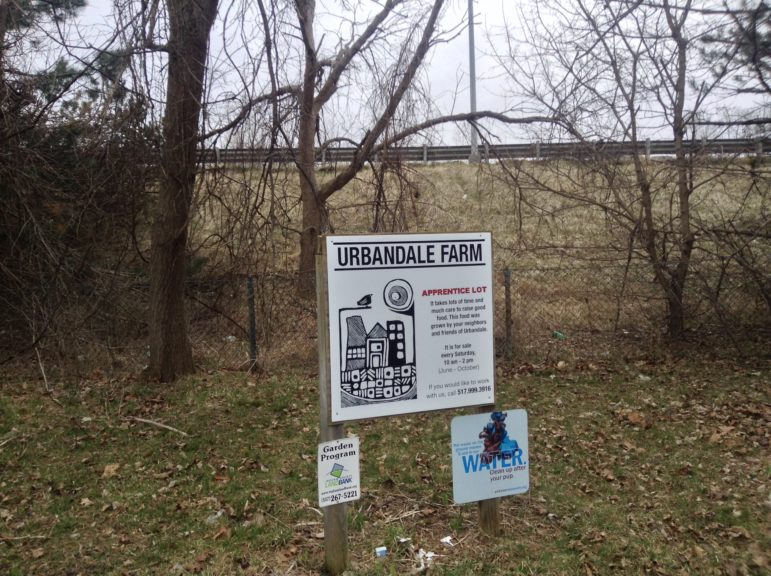 A sign for Urbandale Farm's Apprenticeship Lot stands down the hill Interstate 496 in Lansing. Photo by Maxwell Evans
