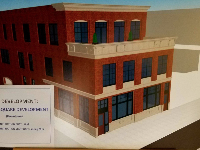 The proposed development illustrations for the restaurant and apartments.
