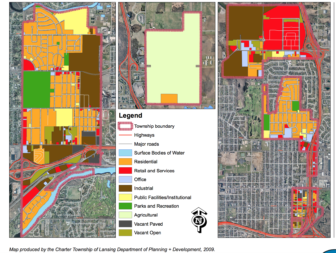 Map of the Lansing Township existing land usage legend. Detailing the areas of vacant open and paved land. Map produced by the Charter Township of Lansing Department of Planning + Development.