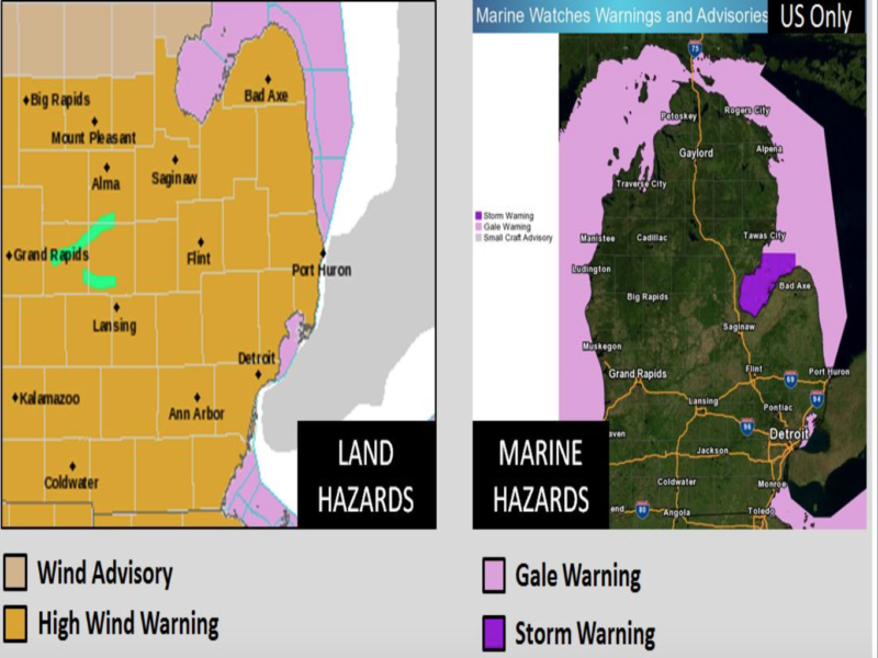 National Weather Service released graphics identifying the areas under a wind advisory.  Graphic courtesy of National Weather Service
