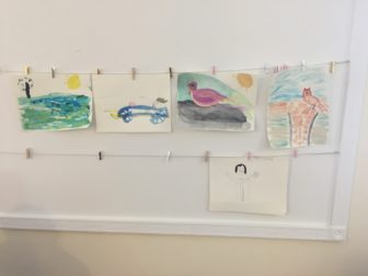 The artwork of participants at Forster Woods is proudly displayed throughout the building.